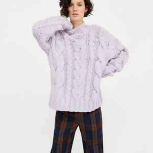 NWT ZARA LAVENDER CABLE KNIT SWEATER SIZE: MEDIUM